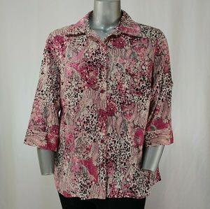 Karen Scott Pink & Blk Print Cotton Blouse, 1X